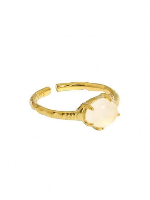Gold [13 adjustable] 925 Sterling Silver Opal Geometric Vintage Band Ring